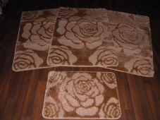 ROMANY WASHABLE MATS 4PCS NON SLIP NEW SUPER THICK ROSE  DARK/BEIGE BISCUIT